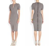 New Fashion Women Gray V-neck Bodycon Slim Pencil Dress Business Zip Back Party Dress Hot