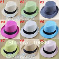 10 Colors Children's Hat Baby Straw Fedora Hat Kids Summer Sun Hat Jazz Cap Solid Color Boys Girls Top Hat 10pcs FH025
