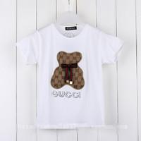 2014 summer brand T-shirt for Girls kids clothing  short sleeve t-shirt bowknot patchwork bear letter girl fashion tops k9335