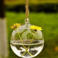Top Sale! 2pcs/lot 8CM Hangable Creative Ball Shape Vase Glass Flower Pot Craft Wedding & Home Decoration F1026