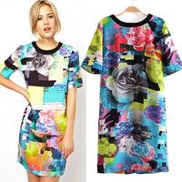 Milan Fashion ; 2014 new women loose casual dress ; flower print dresses ; vestidos de festa ; ropa mujer; saias femininas