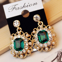 2 colors options temperament  imitation-pearls crystal Square drop earrings R4280