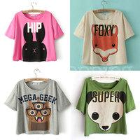 Q765 Hot Sales 2014 Summer Women Fashion Tees Loose Cartoon Fox Rabbit Panda Animal Character Cute Short T-shirt Tops Blouses