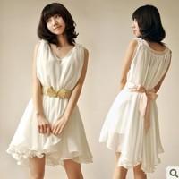 2014 new summer vest dress flounced chiffon girl's sweet dress big yards solid white 8 color Size S M L 2 piece/set