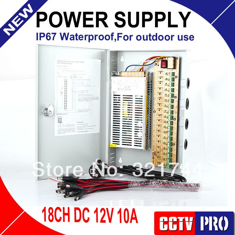 18CH 12V 10A CCTV power supply box / 12V 10A 120W monitor power supply AUTO-RESET / switch power supply(China (Mainland))