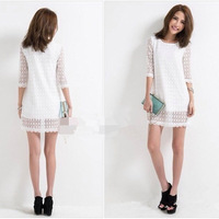 2014 Summer New High Quality Sweet Girl full lace embroidered Dress short-sleeve sunflower dress