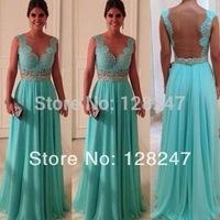 Hot Sale A-line V-neck Open Back Blue Lace Chiffon Evening Dresses Long 2014 EDM-0242 New Arrival Zuhair Murad Evening dress