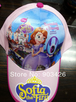 50pcs/Lot !2014 The Newest Movie Character Sofia The First Hat Cartoon Cotton Visors Cap Sunhat G3606 Free Shipping