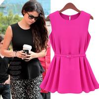 NEW 2014 spring and summer women's fashion sleeveless knitted medium-long plus size chiffon shirt slim tops Free Shipping