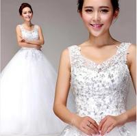 2014 new lace flower word shoulder deep v-neck Princess Bridal wedding dress brush trail white wedding ball gown with diamond
