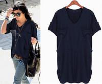Summer t shirt women new European plus size L-4XL loose v-neck short sleeve t shirts pure color cotton pockets long t shirt