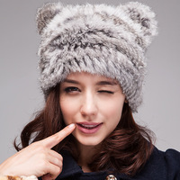 Cpa Free Shipping* 100% Real Rabbit Fur Knitted Cap,Natural Rabbit Fur Cap, Fur Hat* Whole Sale & Retail* SU-14017