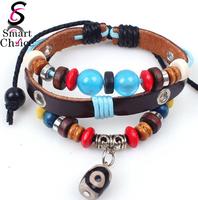 Popular Bohemia cuff bracelet colorful beads multilayer leather wrist band bracelet & bangle with evil eye pendant