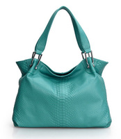 2014 NEW GENUINE LEATHER Snake Embossed Totes handbag Large capacity Natural Cowhide women shoulder bag Fashion Trends girl B199