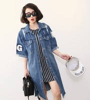 Fashion 2014 distrressed print denim outerwear female short-sleeve medium-long loose spring and summer women's long s