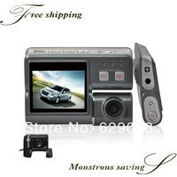 free sample 2.5inch LCD 140deg angle dvr GPS and G-sensor dual camera car dvr usb dvr box