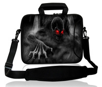 "Fashion Cool Skull 14.1""14.3""Comfortable Neoprene Handle Laptop Case Shoulder Sleeve Bag Case Cover Double Pockets Protector"