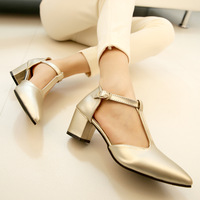Summer star style pointed toe high-heeled sandals fashion sexy thick heel flat shallow mouth shoes