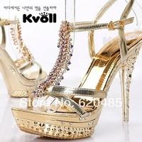 Free shipping Sandals l62346 platform ladies elegant gold plated diamond ultra high heels PU