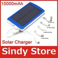 1pcs/lot,free ship bright portable 10000mAh USB Universal External Solar Battery Charger Power Bank for iPhone iPod iPad