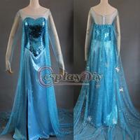 На заказ новая редакция замороженные эльза платье фильм косплей костюм для взрослых темно-синий.