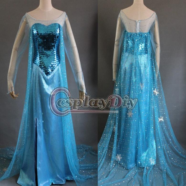 custom made nuovo edizione congelati Elsa abito film cosplay costume per adulti blu scuro