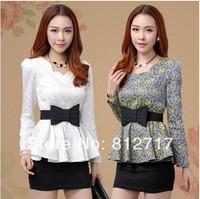 new spring 2014 fashion women blouse lace slim waist basic shirt long-sleeve ruffle sweep tops chiffon blouse S M L XL XXL FreeS