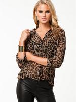 Fee Shipping 5 Sizes 2014 New Spring Summer Fashion Personality Leopard Chiffon Shirts V-neck Long Sleeve Wild  Women Blouse 931