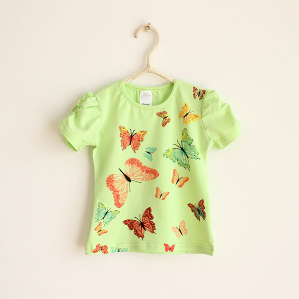 New Hot 2014 Butterfly Tshirt Children T Shirt Long Sleeve Kids Girl Tee Cotton Baby Clothing Wholesale Free Shippnig(China (Mainland))