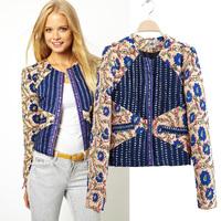 2014 winter women thin down jacket European style flower print round neck cotton-padded full size LS264