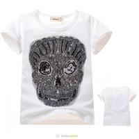 Free Shipping 2014 New Boys Girls Fashion Novelty White Short T-shirt Children Unisex Skull Patch Tee Shirt Kids Summer Clothes