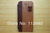 Hot Sale Football Club Wooden Case for Apple iphone5 5s, 100% Real Wood Case for iphone5 5s, free shipping