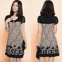 2015 primavera New Arrival moda feminina vestido Printing vestido vestido de manga solta mulheres grátis frete(China (Mainland))