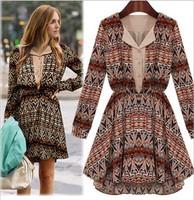 Milan Fashion ; spring summer Slim fit women casual dress ; retro print chiffon dresses ; vestidos de festa ;  saias femininas