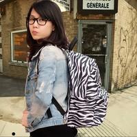 Zebra print leopard print backpack female polka dot backpack preppy style male middle school students school bag HARAJUKU