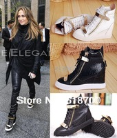 Free shipping delievry 2014 newest Crocodile pattern boots for women 100% genuine leather high top shoes casual sneakers