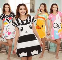 [alice] Sale Freeshipping None Satin Short 2014 New Women's Short-sleeve Cartoon Pure Cotton Sleepwear Lounge Set Women Pijamas