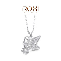 ROXI Gift Classic Genuine Austrian white zircon Fashion Link Chain platinum Necklace Butterfly Pendant Party