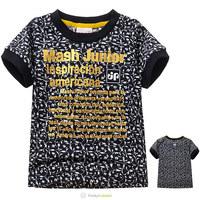Special Offer 2014 Boys Girls Fashion Flowers T-shirts Children Summer Classic Print Cotton Tee Shirt Kids Black Tops 5 Pcs/Lot