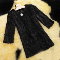 2014 New Spring Natural Women Fur Coat Real Mink Fur Outerwear Fashion Long Coats and Jackets Coat Warm Winter Plus Size