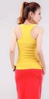 Wholesale New 2014 Summer Hot Female Women Button Sleeveless T-Shirt Vest Casual Sport Button Condole Belt Vest Tank Tops