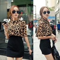 Drop shipping Womens Batwing Sleeve Leopard Chiffon Tops Mini Dress Bodycon Party Gown free shipping