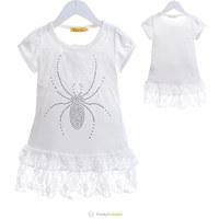 New 2014 Girls Summer White Casual Dress Kids Spider Rhinestone Cotton Jacquard Lace Stitching Dress 6 Pcs/Lot Free Shipping