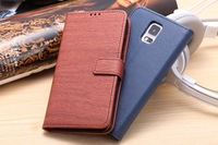 MOQ 1pcs Top Quality Wood texture PU Leather ID Wallet Flip Case with Card Pockets For Samsung Galaxy S5 i9600,Free Shipping