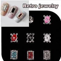 100pcs Retro jewelry Rhinestone Nail Art Metal Charm100pcs Nail Art Alloy of 3D Nail Art Decoration NKB480-497