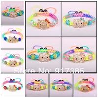 Big Promotional 20X Children Jewelry Boys Girls Disco Ball Clay Crystal Beads Hello Kitty Kids Shamballa Bracelet Free Shipping