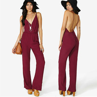 2014 New Fashion Women Clothing Backless Sexy Jumpsuit Women Solid long Overall Jumpsuits V-Neck Bodysuit Plus Size XXL in Stock