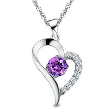 Woman New Fashion Jewelry 2014 Summer Spring 925 Sterling Silver Heart Love Pendants Necklaces With Amethyst Crystal Stone YSN25