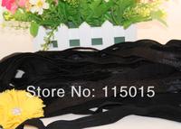 Black 10yard/lot Free Shipping 2CM Width FOE Fold Over Elastic for Headband Solid Elastic Hair Accessory-U Choose Colors