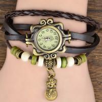 Hot Sell 7 Colors Original High Quality Women Genuine Leather Vintage Watch,Bracelet Watch Christmas snowman Pendant